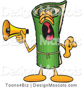 Stock Vector Mascot Cartoon of a Rolled Sod Mascot Cartoon Character Screaming into a Megaphone by Toons4Biz