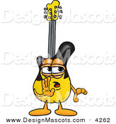 Stock Vector Mascot Cartoon of a Secretive Guitar Mascot Cartoon Character Whispering and Gossiping by Toons4Biz