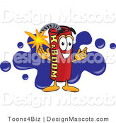Stock Vector Mascot Cartoon of a Smiling Dynamite Mascot Cartoon Character with a Blue Paint Splatter Background Behind by Toons4Biz