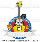 Stock Vector Mascot Cartoon of a Smiling Guitar Mascot Cartoon Character Logo with Stars and a Blank Label by Toons4Biz