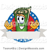 Stock Vector Mascot Cartoon of a Smiling Patriotic Green Rug Mascot Cartoon Character with Stars and a Blank Label by Toons4Biz