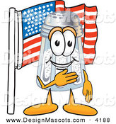 Stock Vector Mascot Cartoon of a Smiling Patriotic Salt Shaker Mascot Cartoon Character Pledging Allegiance to an American Flag by Toons4Biz