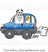 Stock Vector Mascot Cartoon of a White Blimp Mascot Cartoon Character Driving a Blue Car and Waving Hello by Toons4Biz