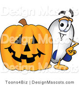 Stock Vector Mascot Cartoon of a White Blimp Mascot Cartoon Character with a Carved Halloween Pumpkin by Toons4Biz