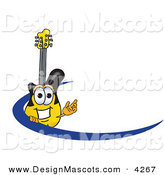Stock Vector Mascot Cartoon of a Yellow and Black Guitar Mascot Cartoon Character Logo with a Blue Dash by Toons4Biz
