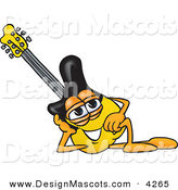 Stock Vector Mascot Cartoon of a Yellow and Black Guitar Mascot Cartoon Character Resting His Head on His Hand by Toons4Biz