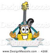 Stock Vector Mascot Cartoon of a Yellow and Black Guitar Mascot Cartoon Character with a Blank Label by Toons4Biz