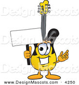 Stock Vector Mascot Cartoon of a Yellow Guitar Mascot Cartoon Character Holding a Blank Sign by Toons4Biz