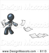Stock Vector Mascot of a Navy Blue Man Dropping Documents and Leaving a Paper Trail by Leo Blanchette