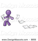 Stock Vector Mascot of a Purple Man Dropping Documents by Leo Blanchette