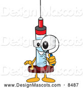 Stock Vector Mascot of a Syringe Mascot Using a Magnifying Glass by Toons4Biz