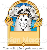 Vector Clipart of a Chef Hat Mascot and Blank Sign - Royalty Free by Toons4Biz