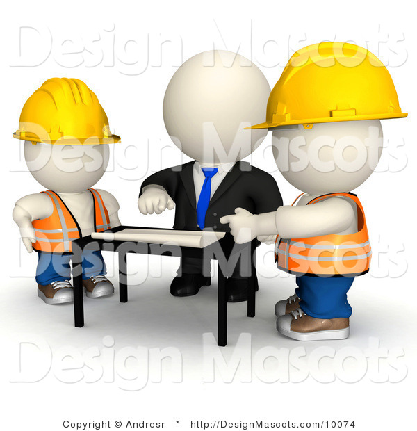 Clipart of a 3d White Businessman Mascot Discussing Building Plans with Contractors - Royalty Free