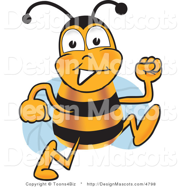 Clipart of a Bee Cartoon Character Running - Royalty Free