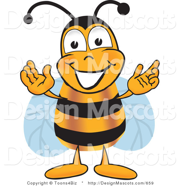 Clipart of a Bee Mascot Cartoon Character Greeting - Royalty Free