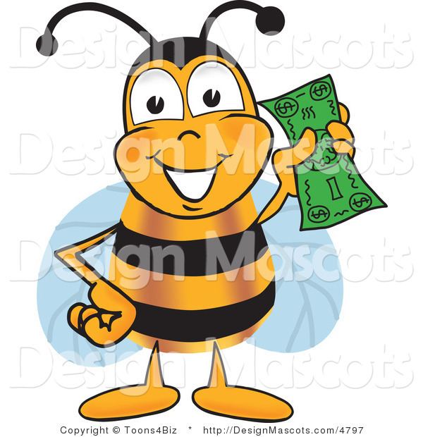 Clipart of a Bee Mascot Cartoon Character Holding a Dollar - Royalty Free
