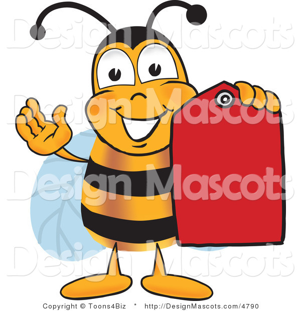 Clipart of a Bee Mascot Cartoon Character Holding a Red Clearance Tag - Royalty Free