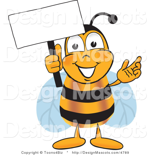 Clipart of a Bee Mascot Cartoon Character Holding a Sign - Royalty Free