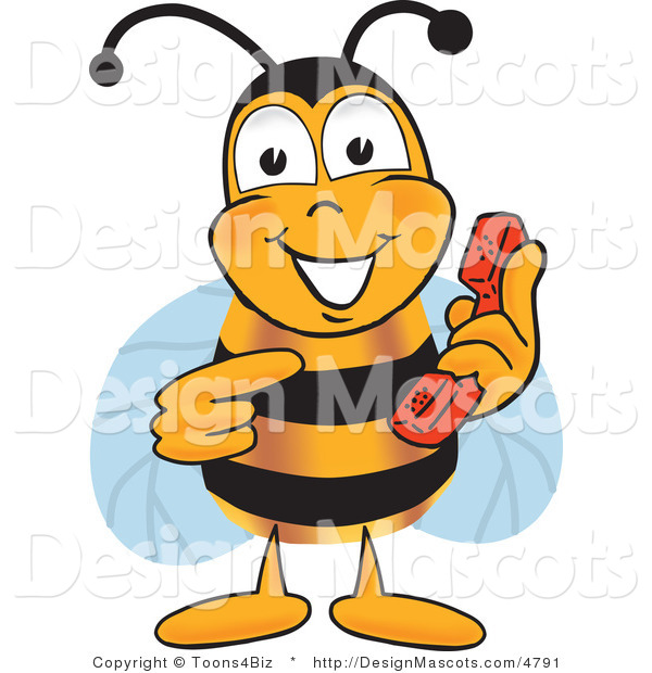 Clipart of a Bee Mascot Cartoon Character Holding a Telephone - Royalty Free