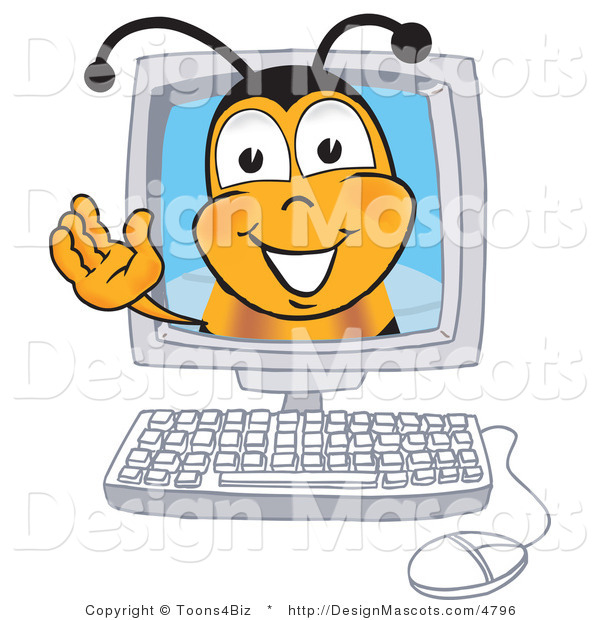 Clipart of a Bee Mascot Cartoon Character in a Computer Monitor - Royalty Free