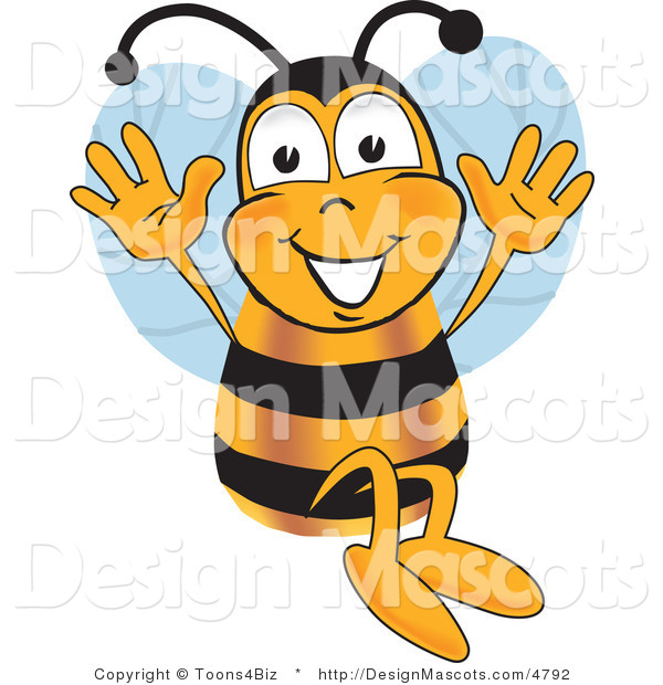 Clipart of a Bee Mascot Cartoon Character Jumping - Royalty Free