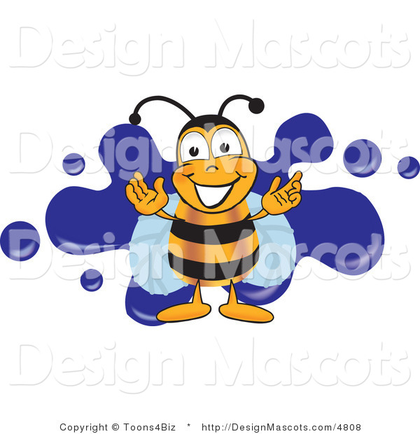 Clipart of a Bee Mascot Cartoon Character Logo - Royalty Free