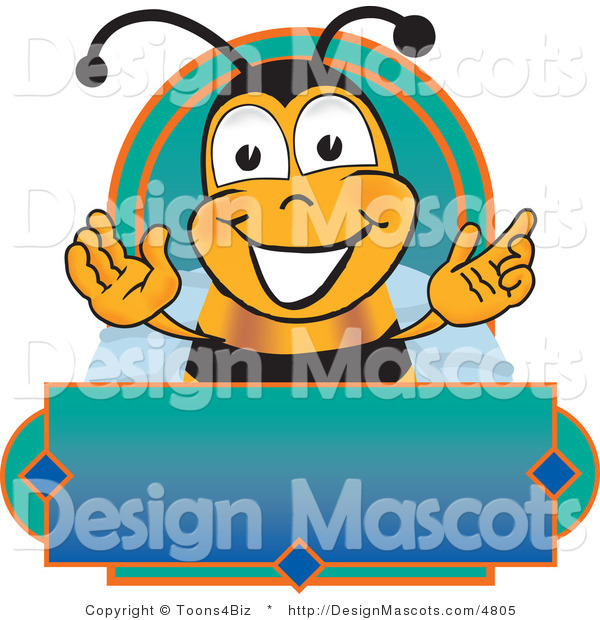 Clipart of a Bee Mascot Cartoon Character on a Label - Royalty Free