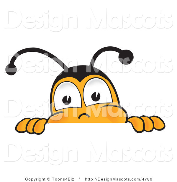 Clipart of a Bee Mascot Cartoon Character Peeking - Royalty Free