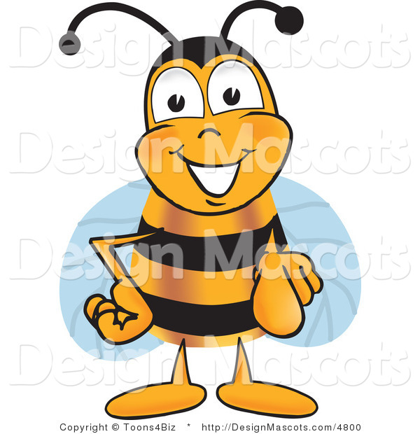 Clipart of a Bee Mascot Cartoon Character Pointing - Royalty Free