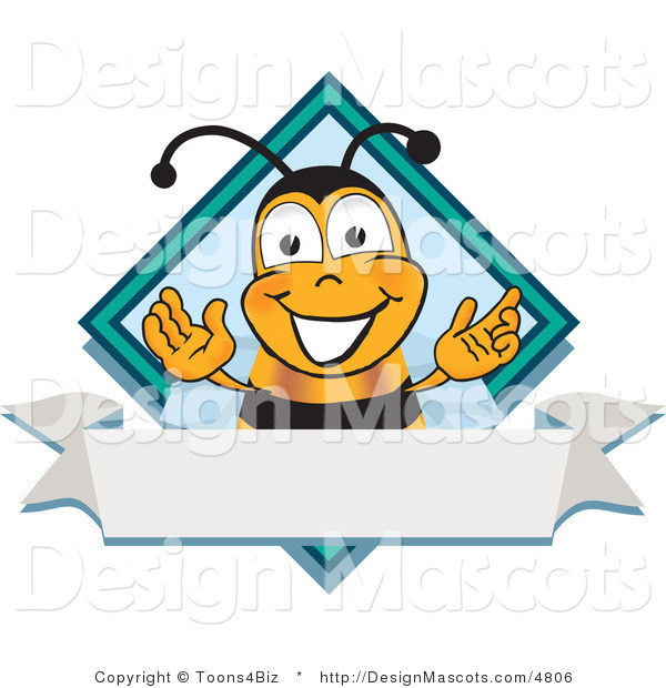 Clipart of a Bee Mascot Cartoon Character - Royalty Free