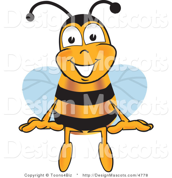Clipart of a Bee Mascot Cartoon Character Sitting - Royalty Free