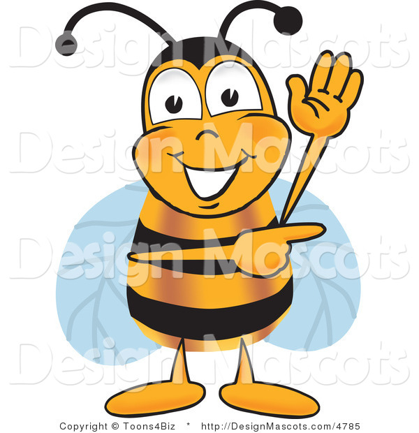 Clipart of a Bee Mascot Cartoon Character Waving and Pointing - Royalty Free