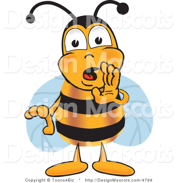 Clipart of a Bee Mascot Cartoon Character Whispering - Royalty Free