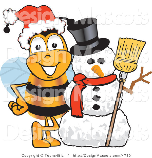 Clipart of a Bee Mascot Cartoon Character with a Snowman - Royalty Free