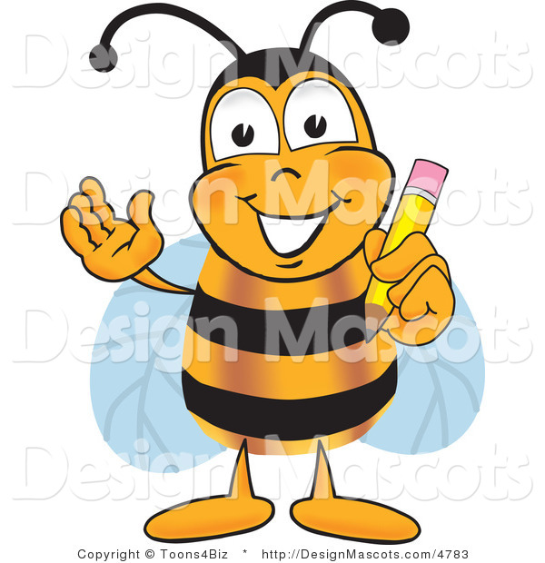 Clipart of a Bee Mascot Cartoon Holding a Pencil - Royalty Free