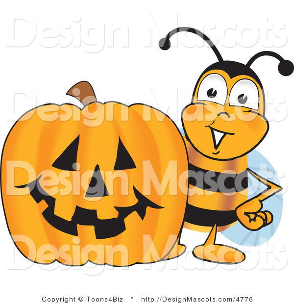 Clipart of a Bee with a Carved Halloween Pumpkin - Royalty Free