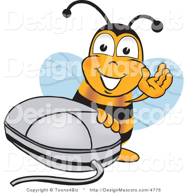 Clipart of a Bee with a Computer Mouse - Royalty Free