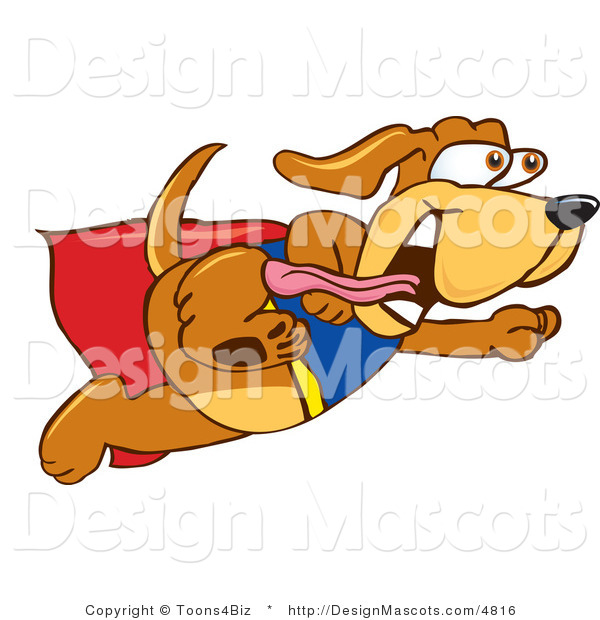 Clipart of a Brown Dog Mascot Cartoon Character Dressed As a Super Hero - Royalty Free