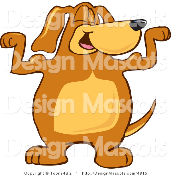Clipart of a Brown Dog Mascot Cartoon Character Flexing - Royalty Free
