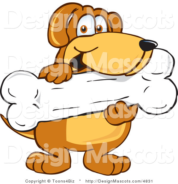 Clipart of a Brown Dog Mascot Cartoon Character Holding a Bone - Royalty Free