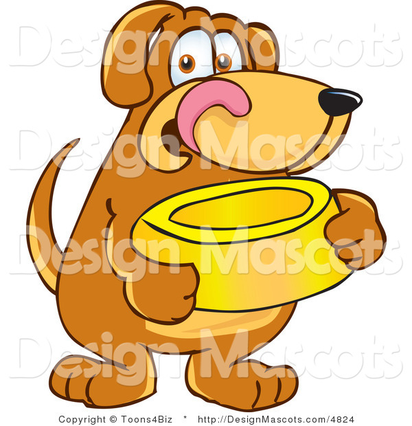 Clipart of a Brown Dog Mascot Cartoon Character Holding a Food Dish - Royalty Free