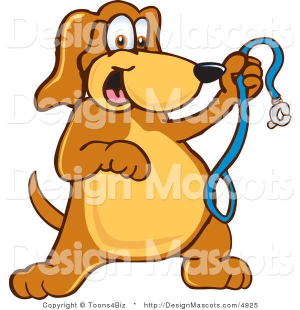 Clipart of a Brown Dog Mascot Cartoon Character Holding a Leash - Royalty Free