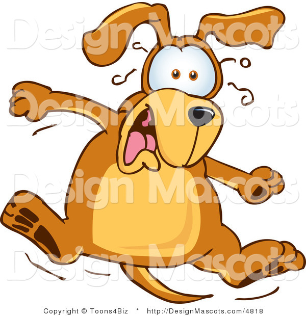 Clipart of a Brown Dog Mascot Cartoon Character Jumping - Royalty Free