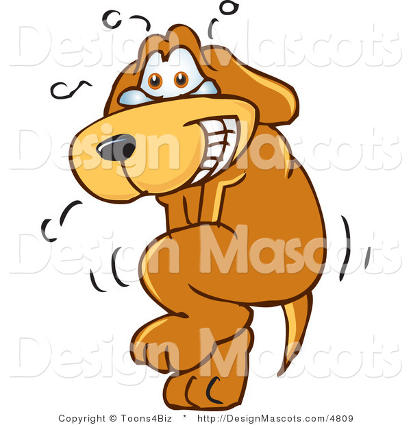 Clipart of a Brown Dog Mascot Cartoon Character Needs to Go Pee - Royalty Free