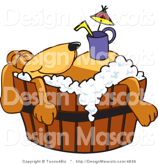 Clipart of a Brown Dog Mascot Cartoon Character with a Drink on His Belly - Royalty Free
