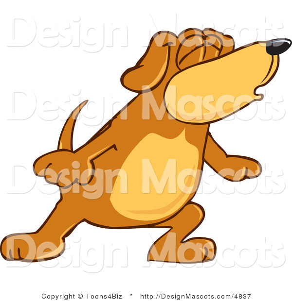 Clipart of a Brown Dog Mascot Cartoon Character with Closed Eyes - Royalty Free