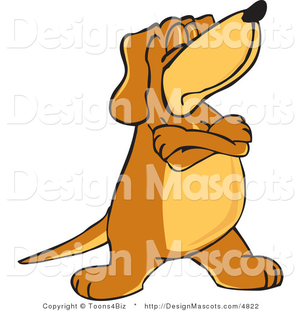 Clipart of a Brown Dog Mascot Cartoon Character with Crossed Arms - Royalty Free