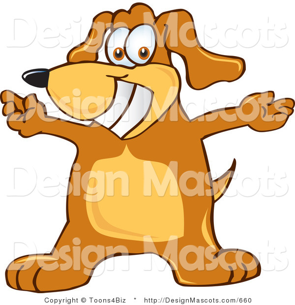 Clipart of a Brown Dog Mascot Cartoon Character with Open Arms - Royalty Free