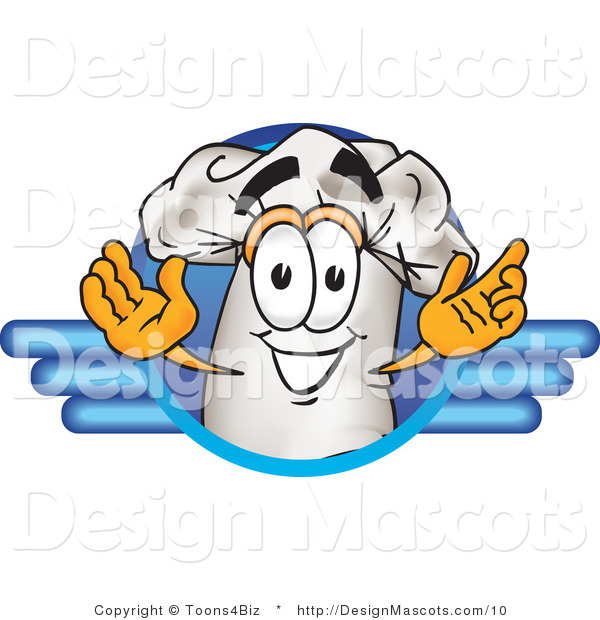 Clipart of a Chefs Hat Mascot Man on a Blue Logo - Royalty Free
