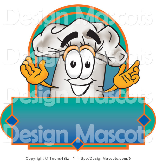 Clipart of a Chefs Hat Mascot Man over a Blank Label - Royalty Free